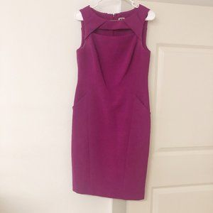 ANNE KLEIN Pink Fushia Cut Out Neck Dress SZ 6